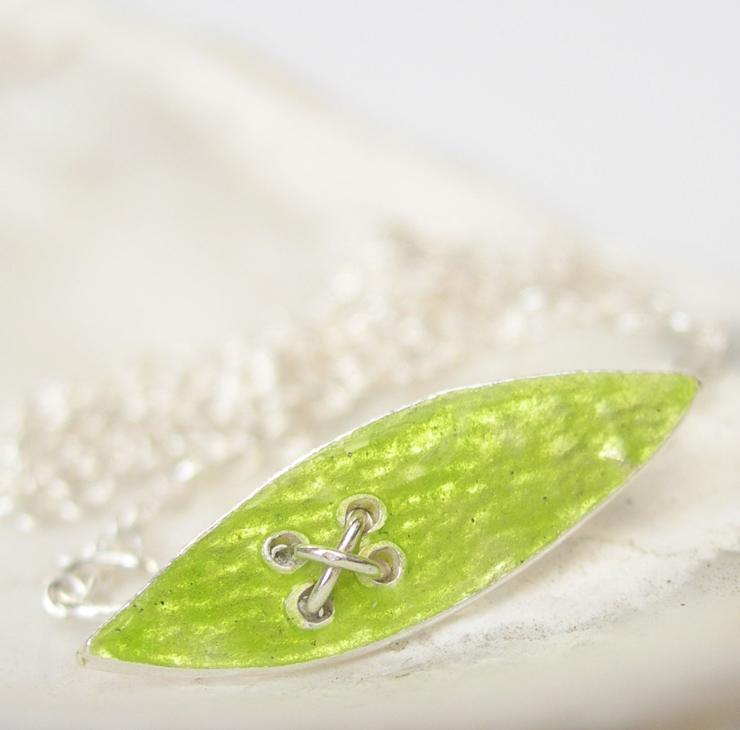 Enamelled Silver Petal Kiss Pendant in Lime Green