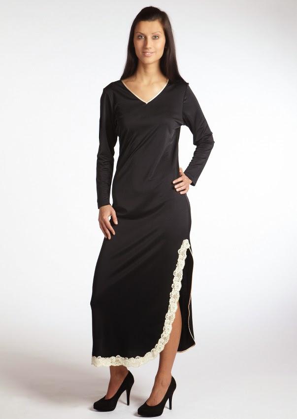 Langarm-Seidennachthemd Tahiti schwarz-creme von Gattina