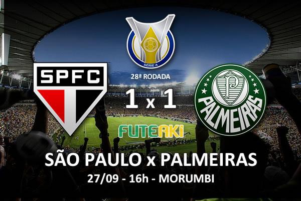 Veja o resumo da partida com os gols e os melhores momentos de São Paulo 1x1 Palmeiras pela 28ª rodada do Brasileirão 2015.