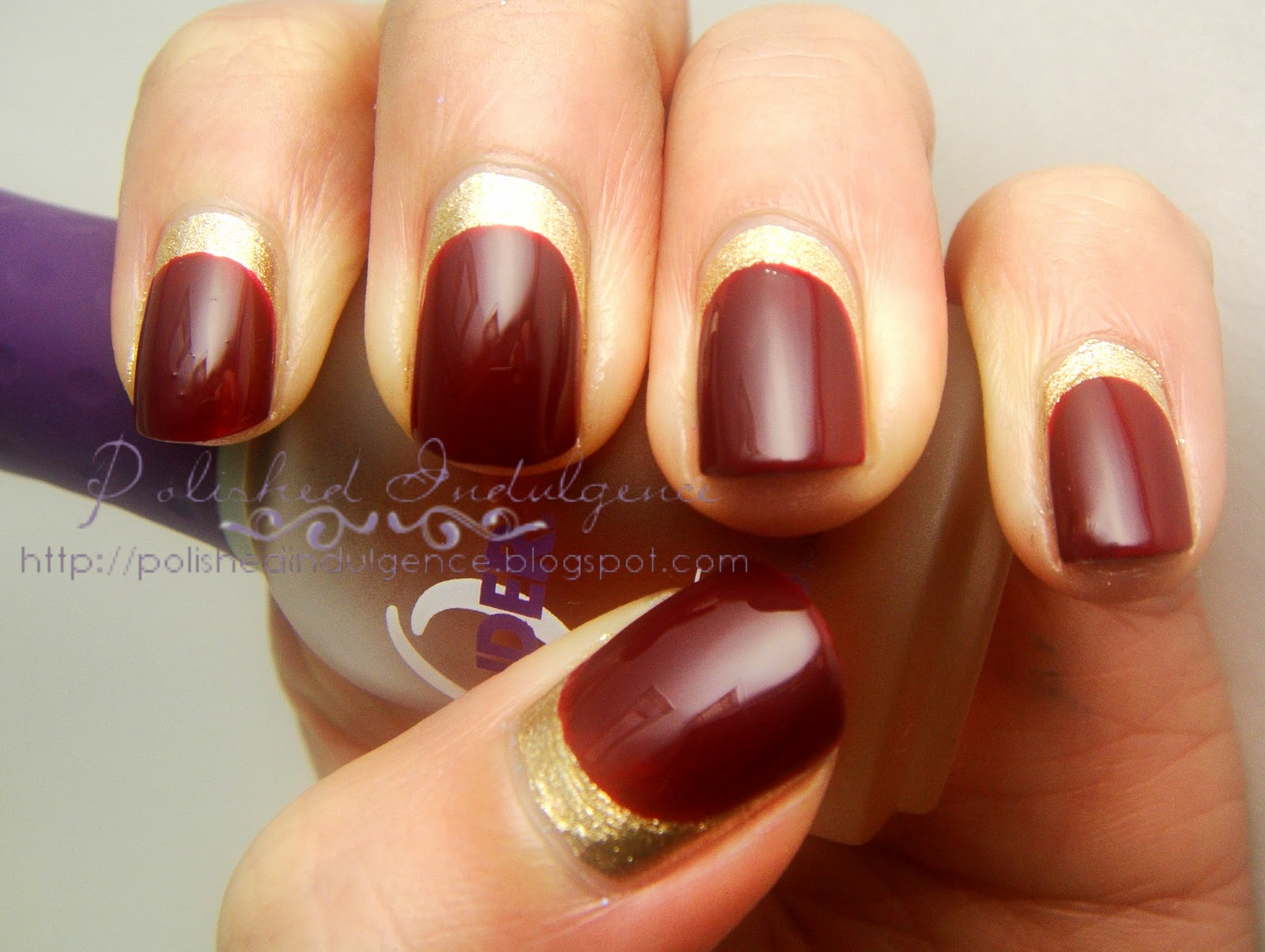 Polished indulgence nail art wednesday red and gold ruffian nails nail art wednesday red and gold ruffian nails prinsesfo Images