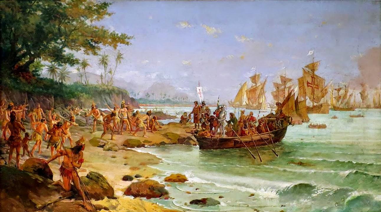 Peinture de Oscar Pereira da Silva  Debarquement de Pedro Álvares Cabral à Porto Seguro em 1500
