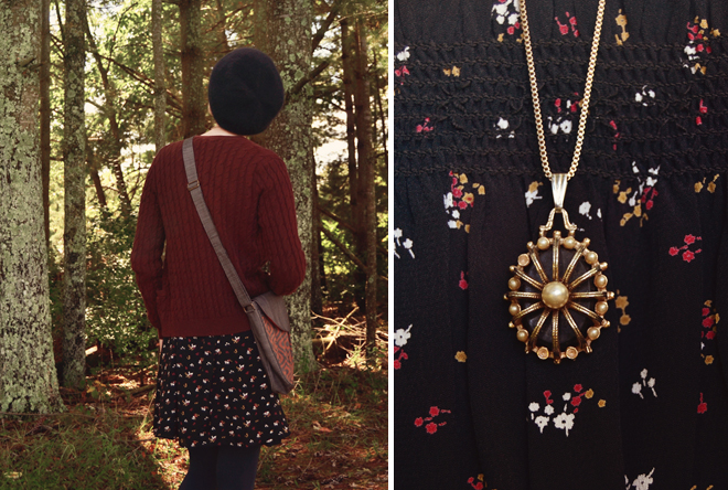 Outfit: little black dress with cardigan and vintage necklace