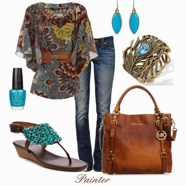 Floral shirt denim pants hand bag and sandals