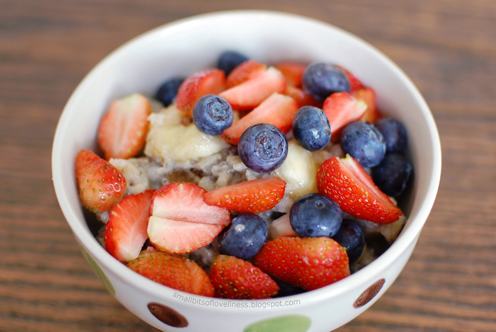 Oatmeal Porridge with Banana Raisins Chia Seeds Blueberries Strawberries