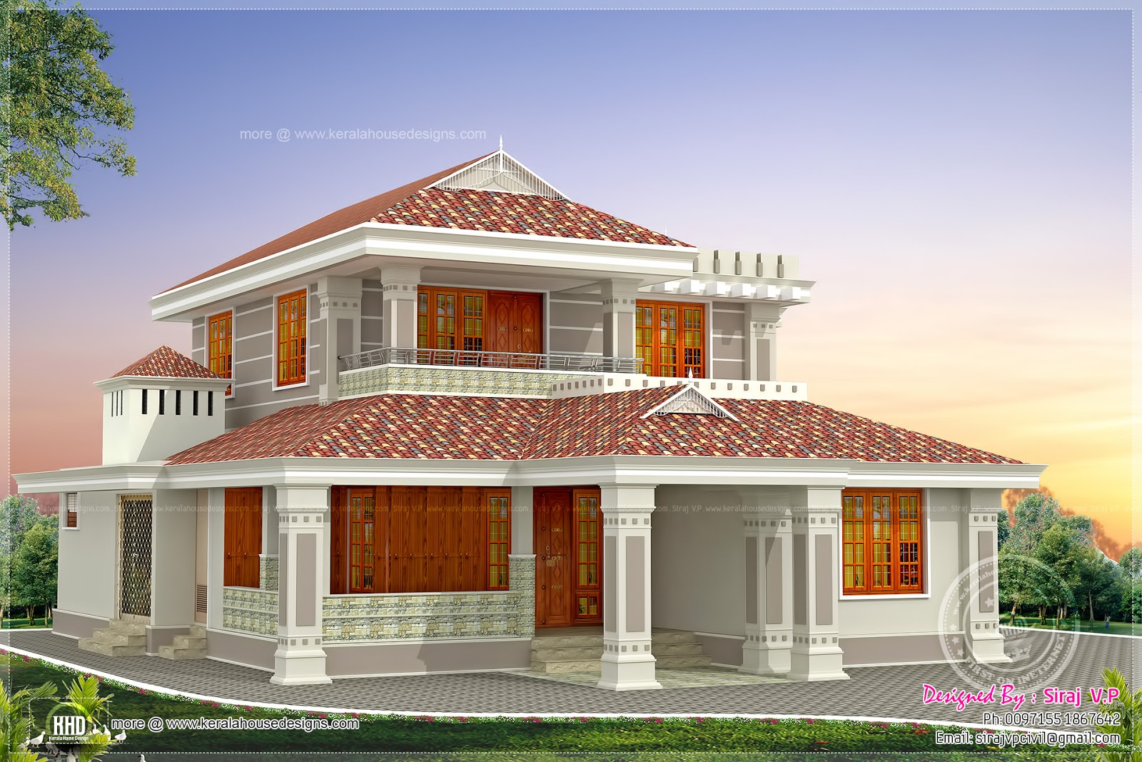 Kerala style beautiful home in 2250 sq ft house design plans for Attractive home designs