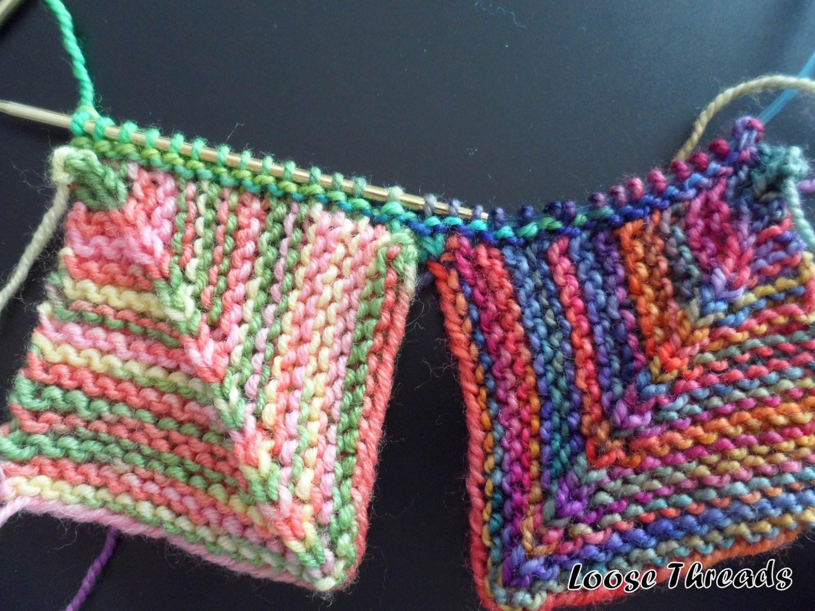 Knitting Patterns For Mitered Squares : Loose Threads: Knit Mitered Square Sock Blanket
