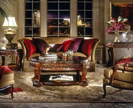 صورة غرفة صالون باللون الاحمر