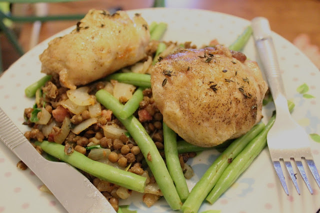 Hello Fresh Roasted Chicken with Smoked Pancetta and Herbed Lentils