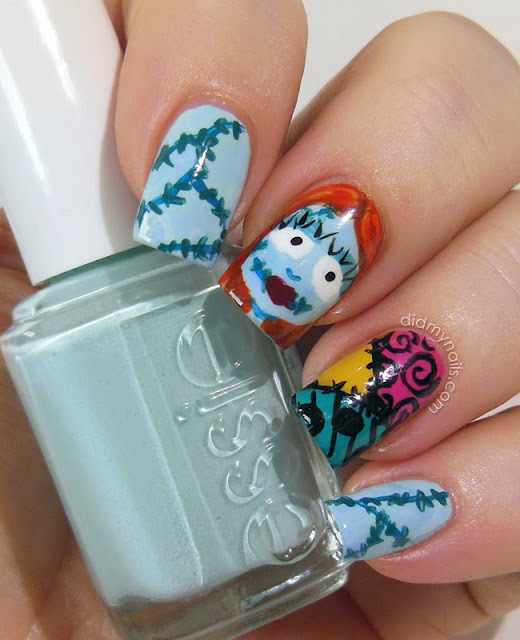 Sally Skellington Halloween nail art