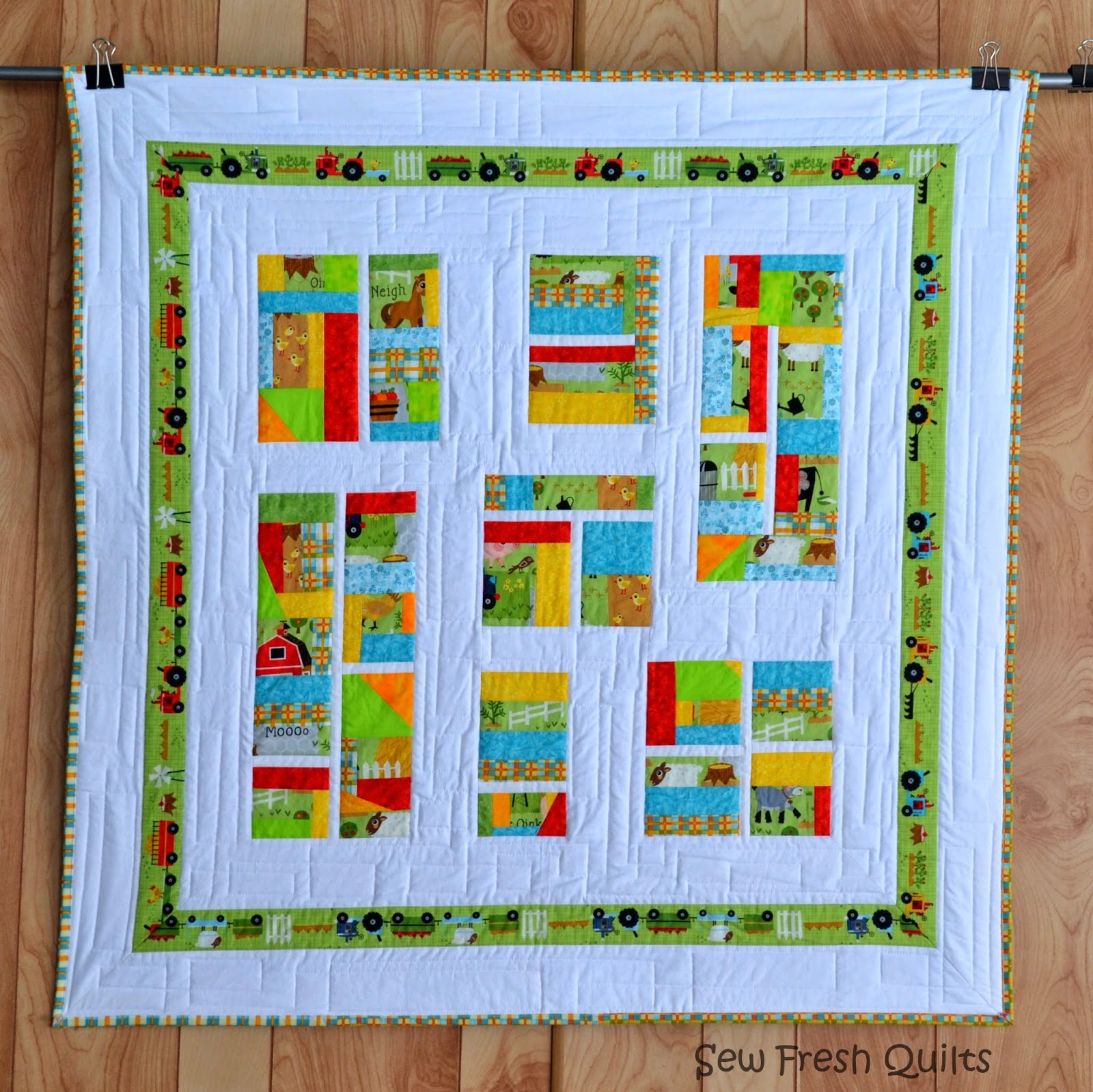 http://sewfreshquilts.blogspot.ca/2013/11/oink-doodle-moo-twin-baby-quilts.html