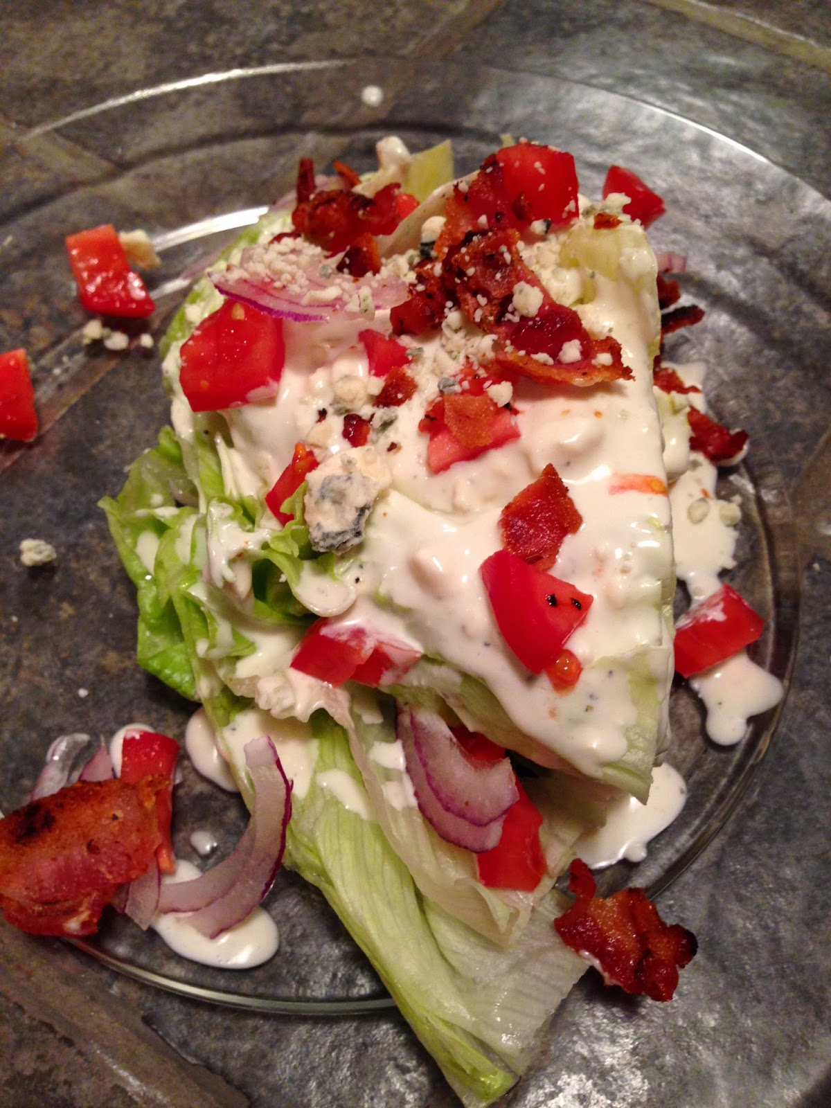 iceberg wedge with blue cheese dressing
