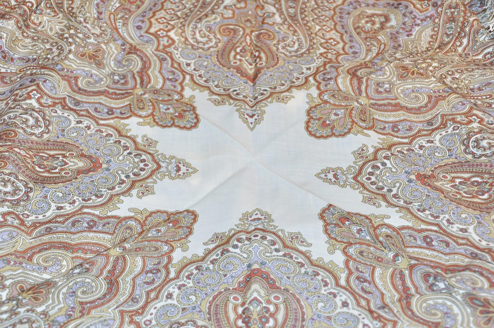 павлопосадский платок белый бежевый
