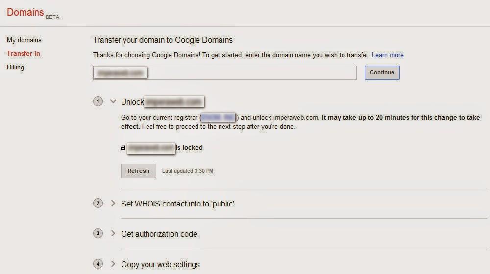העברת דומיינים בממשק של גוגל כרשם דומיינים