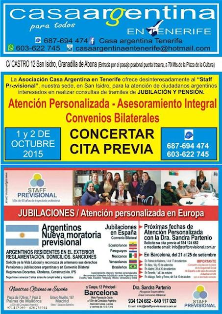 Staff Previsional atenderá en la Casa Argentina de Tenerife el 1 y 2 de octubre
