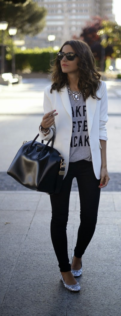 White Chic Blazer with Grey Print tee , Skinnies Jeans and Sparkly Shoes | Street Styles