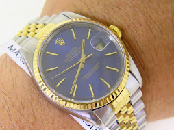 ROLEX OYSTER PERPETUAL DATEJUST - SUNBURST BLUE DIAL - ROLEX 16233 - TWO TONE