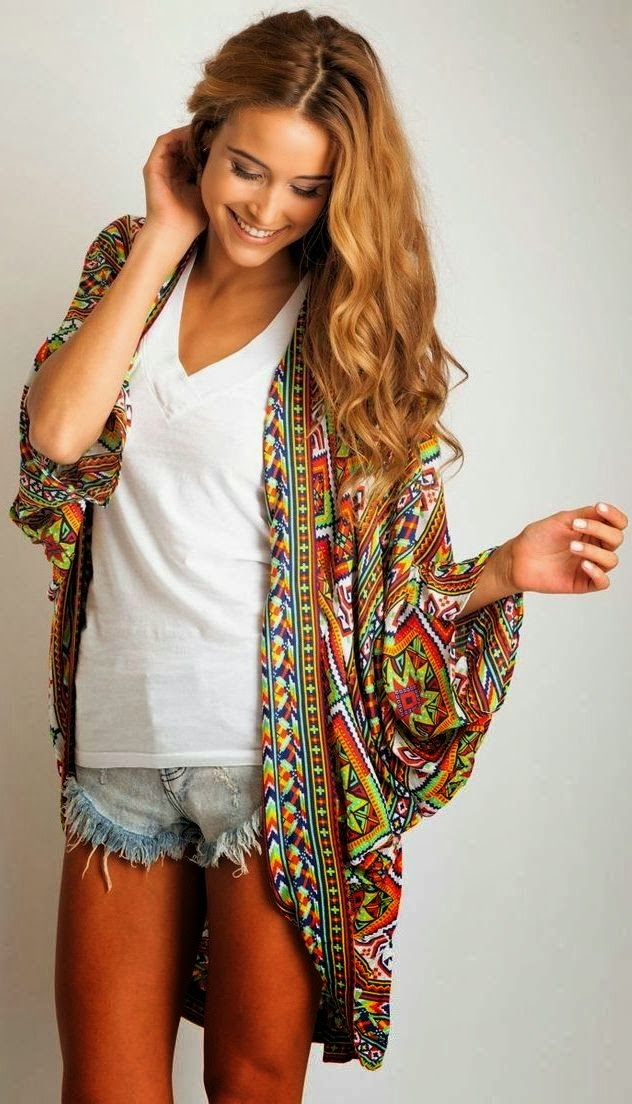 Colorful cardigan, white shirt and jean skirt fall combination