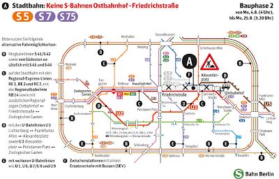 S-Bahn: Sperrung der S-Bahngleise auf der Stadtbahn Phase 2: Sperrung vom 4.8. (4 Uhr) bis 25.8. (1.30 Uhr) im Abschnitt Ostbahnhof – Friedrichstraße