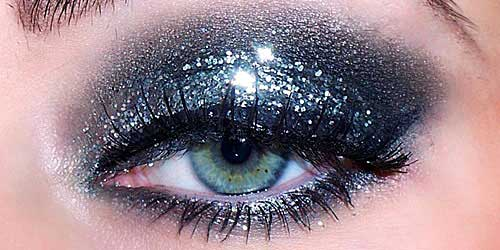 purpurina maquillaje ojos noche