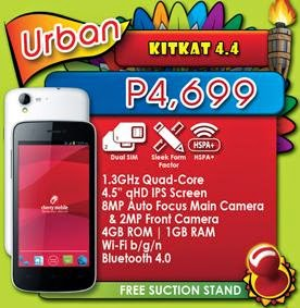 Cherry Mobile Urban, Quad Core KitKat 4.4 For Php4,699