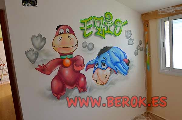 Graffiti infantil de Igor de Winnie the Pooh y Dino picapierdras