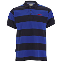 Slazenger Men's Platt Striped Polo Shirt - Navy/Sky/Red