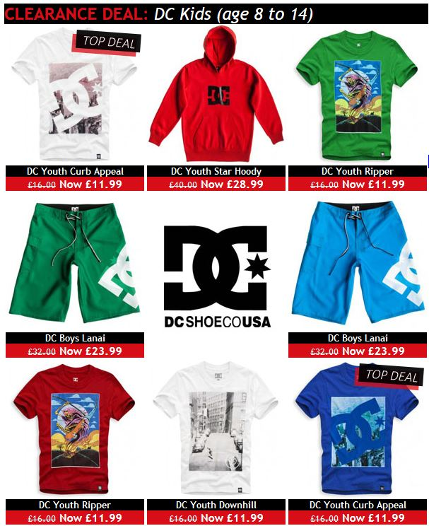 Cheap DC kids skate gear