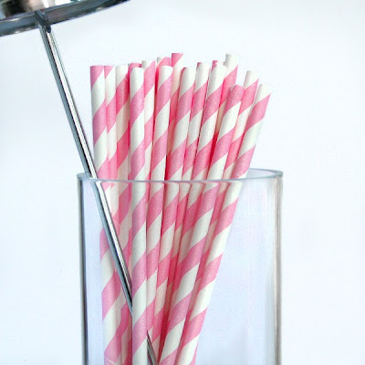 Pink Stripy Paper Straws by Pipii