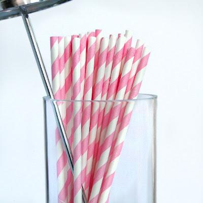 Pink Stripy Paper Straws by Pipii