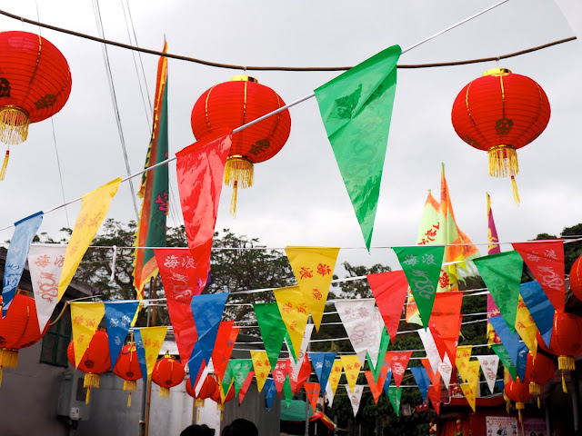 Colourful flags and Chinese lanterns in the streets of Tai O fishing village, Lantau Island, Hong Kong