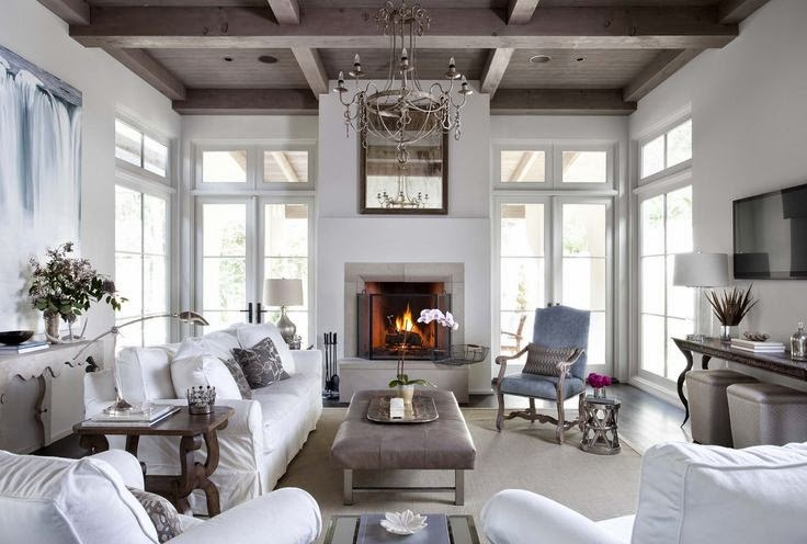 Grey and white living room with painted ceiling