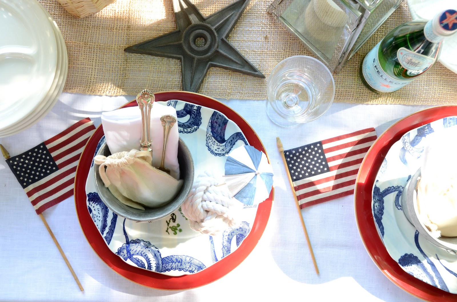 Nautical Table Settings Iron Twine Nautical Table Setting 4th Of July