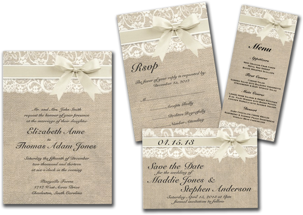 Rustic Vintage Inspired Wedding Invitation