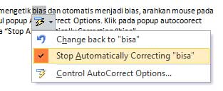 stop autocorrect di ms word