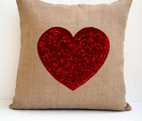 Burlap heart pillow cover with red heart