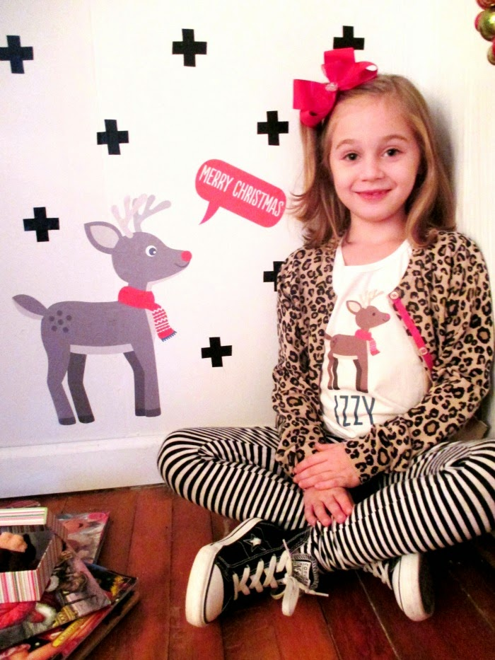 Kid's personalized Christmas tees with matching wall decal