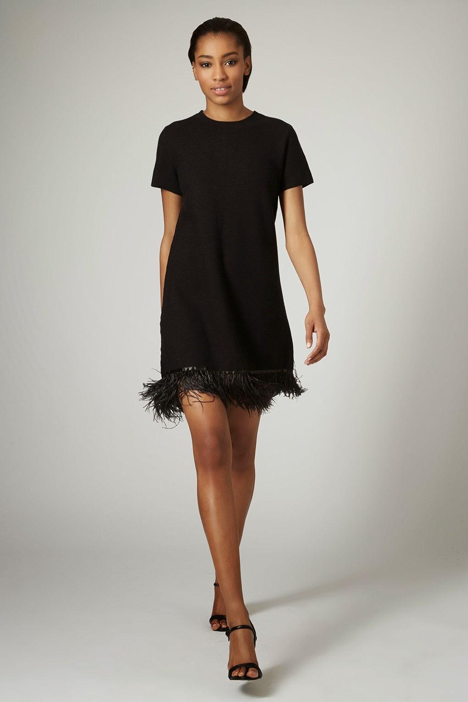 topshop feather trim dress, black feather hem dress,