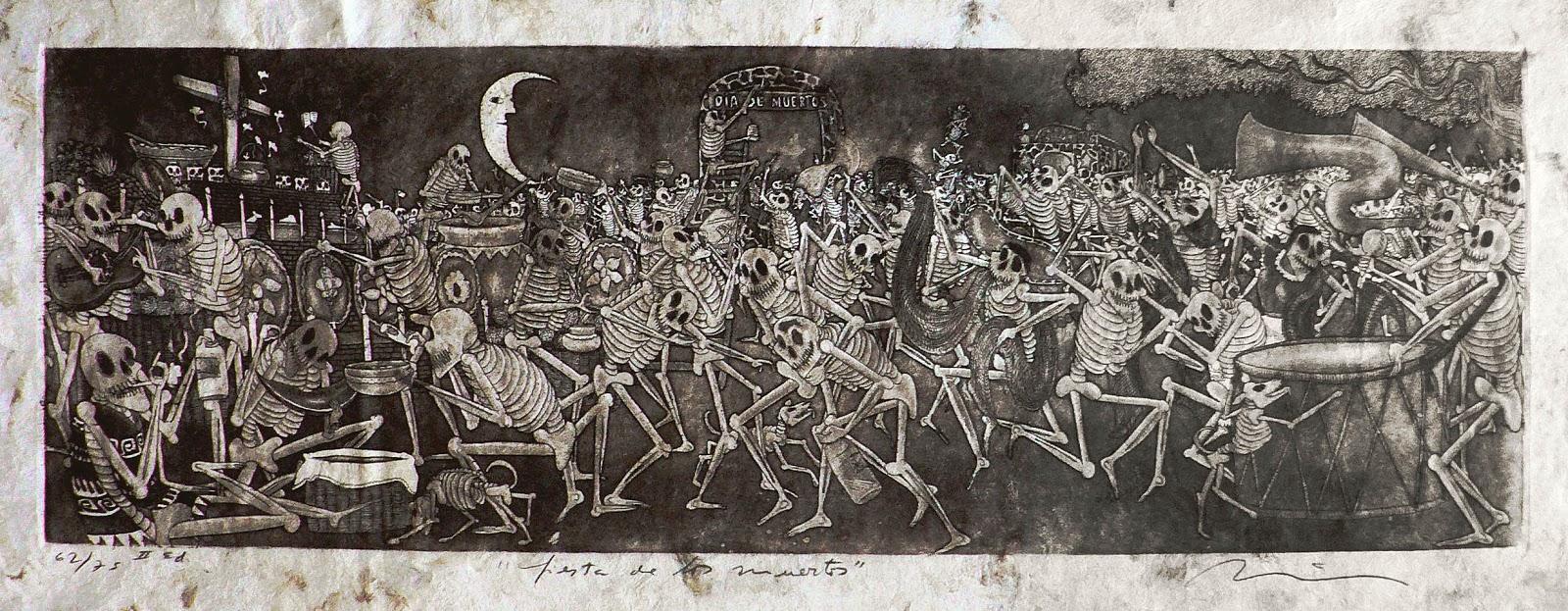 artventures el d atilde shy a de los muertos nicolatildeiexcls de jatildecopysus fiesta de los muertos etching and aquatint