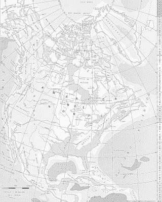 Mapa Fisico de America del Norte (blanco y negro)