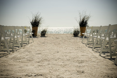 Beach Wedding Ceremony Flowers - Grasses in Urns #2