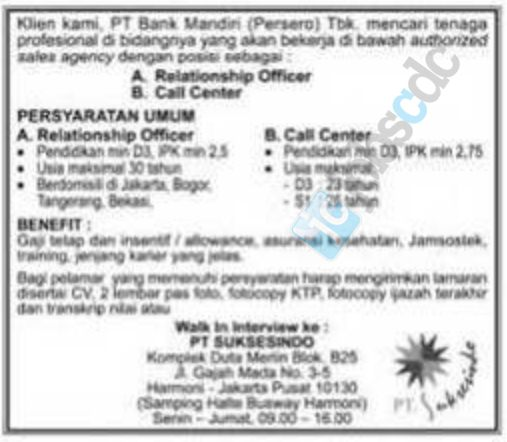 Lowongan Relationship Officer dan Call Center Bank Mandiri November