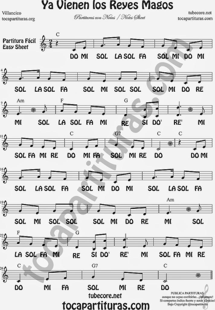Ya Vienen los Reyes Magos Partituras con Notas del Villancico Pupular Flauta Fácil acompañado de un vídeo tutorial con notas