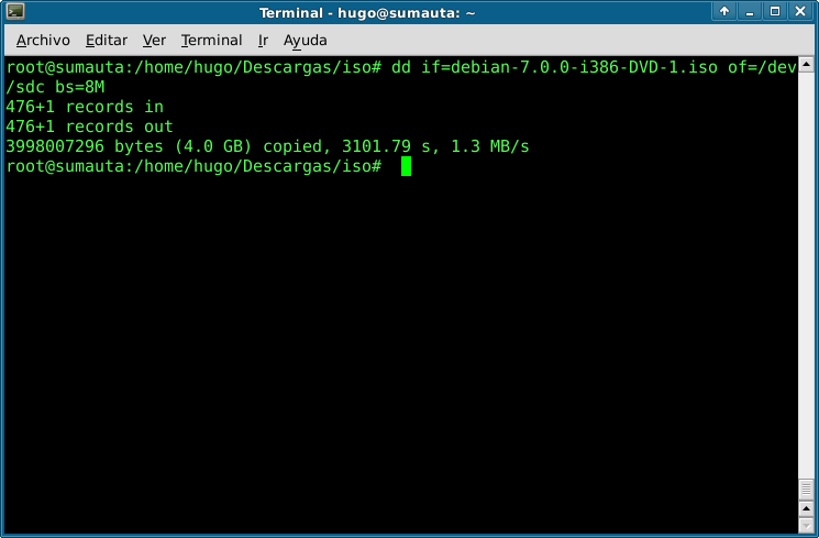 Copiar con dd en linux