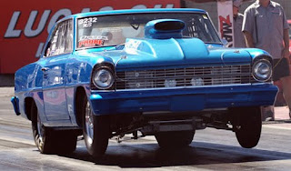 Blue 1967 Chevy Nova race