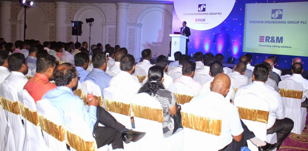 Clive de Silva, Group Chief Executive, Serendib Engineering Group addresses a gathering at The Kingsbury on occasion of the R&M launch.