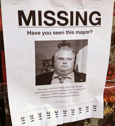 rob ford, rehab, missing posters, doug ford, toronto, whorrified,