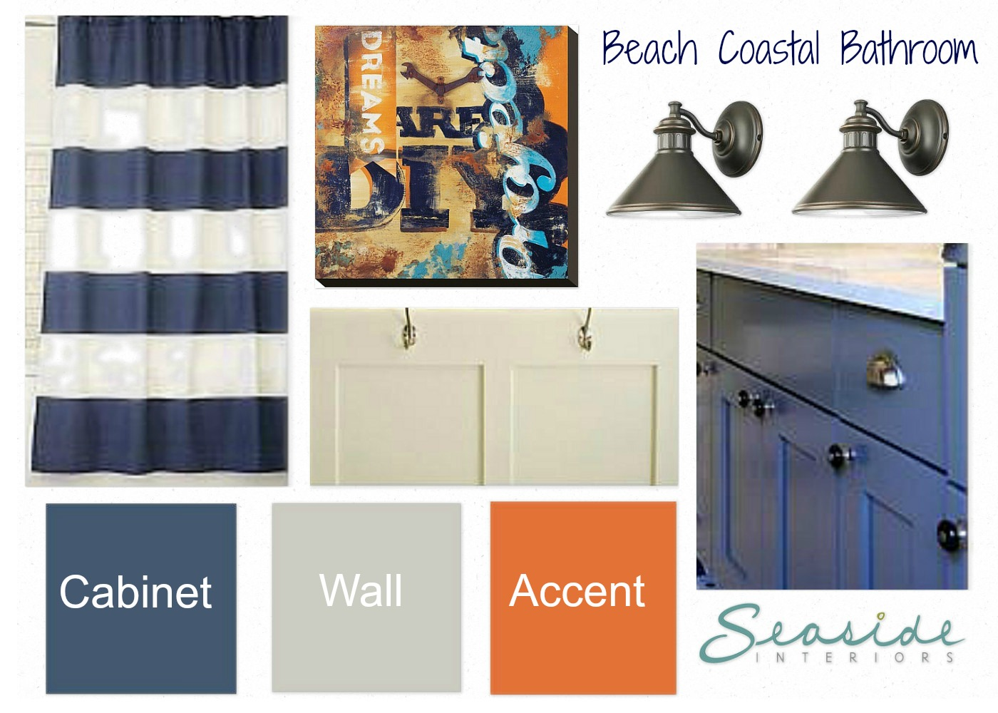 Seaside Interiors: Kids Coastal Bathroom Design Board