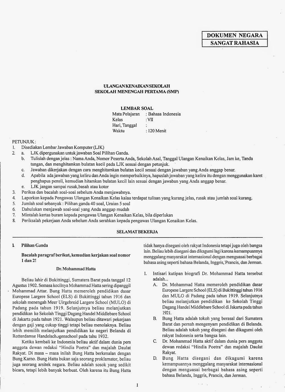 Prediksi Ukk Bahasa Indonesia Kelas 7 Smp Uas Ii Ta 2013 2014 Kumpulan Soal Dan Prediksi Ujian