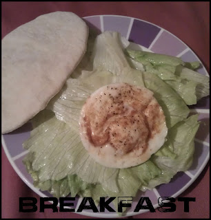 WIAW Breakfast - poached egg, lettuce, pitta bread