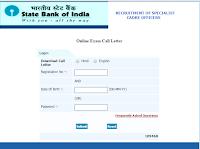 SBI Specialist Officer Exam Admit Card 2015 Download
